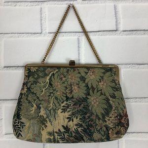 Vintage Tapestry purse carpet bag floral kiss lock